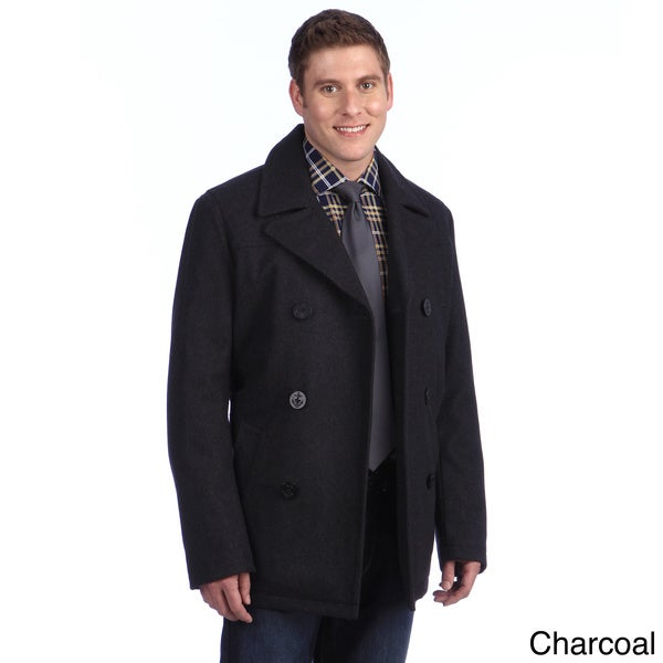 Tommy Hilfiger Men's Double Breasted Wool Blend Peacoat