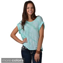 Journee Collection Women's Tie Dye Scoop Neck Top