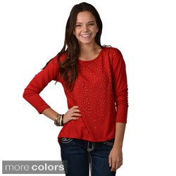 Journee Collection Women's Studded Hi-lo Scoop Neck Top