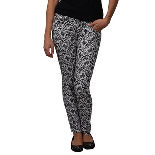 Journee Collection Juniors Flocked Stretchy Skinny Pants