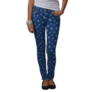 Journee Collection Juniors Star Print Stretchy Skinny Pants