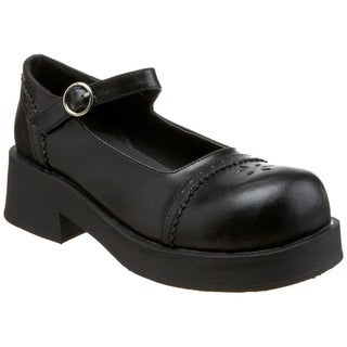 Demonia Women's 'Crux-07' Black Platform Mary Jane Shoes
