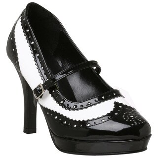 Funtasma Women's Black/ White Patent Wingtip Pumps