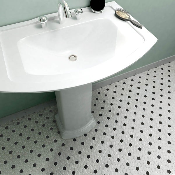 Somertile manhattan hex antique white with for 10 inch floor tiles