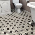 SomerTile 'Manhattan Hex Antique White with Heavy Flower' 10.25x12-inch Unglazed Porcelain Mosaic Tiles (Pack of 10)