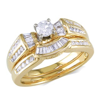 Miadora 14k Yellow Gold 3/4ct TDW Diamond Bridal Ring Set (G-H, I1-I2)