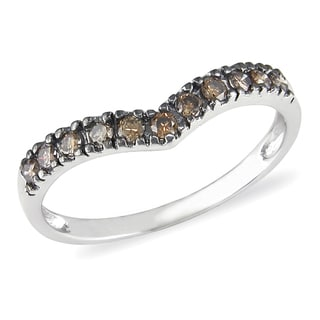 Miadora 10k White Gold 1/6ct TDW Brown Diamond Ring