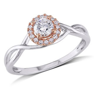 Miadora 10k Gold 2/5ct TDW Rose Accent Round Diamond Halo Ring (H-I, I2-I3)