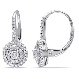 Miadora 14k White Gold 1/2ct TDW Certified Diamond Earrings (G-H, I1) (IGL)
