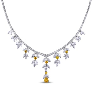 Miadora 14k White Gold 11 3/4ct TDW Diamond and Yellow Sapphire Necklace