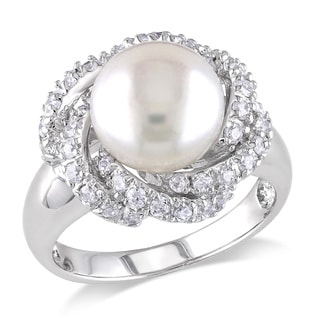 Miadora Sterling Silver Pearl and White Topaz Ring (9-10 mm)
