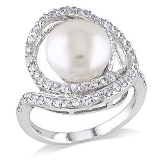 Miadora Sterling Silver Pearl and White Topaz Cocktail Ring (10-11 mm)