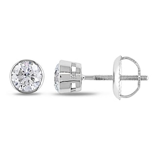 Miadora 14k Gold 3/4ct TDW Bezel-set Diamond Solitaire Earrings (G-H, I1-I2)