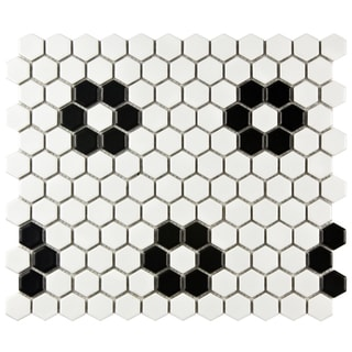 SomerTile 'Victorian Hex 1-inch Matte White Heavy Flower' 10.25x11.75-inch Porcelain Mosaic Tiles (Pack of 10)