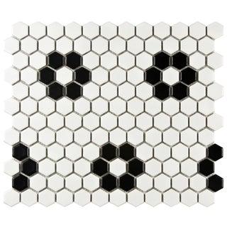 SomerTile Victorian Hex 1-inch Matte White Heavy Flower Porcelain Mosaic Tiles (Pack of 10)