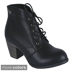 Blossom Women's 'Kiosk-15' Lace-up Stacked Heel Booties