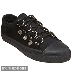 Demonia Men's 'Deviant-05' Black D-ring Low-top Sneakers