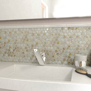 SomerTile 10.875 x 11.5-inch Seashell Hexagon Natural Mosaic Wall Tile (Pack of 10)