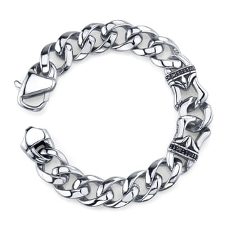 Stainless Steel Men's 1/5ct TDW Black Diamond Curb Link Bracelet