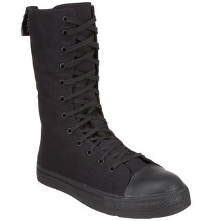 Demonia Men's 'Tyrant-201ST' Black Canvas Lace-up Mid-calf Boots