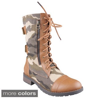 Refresh Women's 'Terra-10' Lace-up Mid-calf Combat Boots