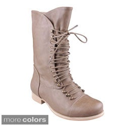 Refresh 'MAE-02' Women's Lace-up Mid-calf Combat Boots