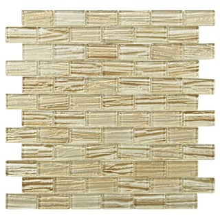 SomerTile 'Arbor Subway Cream' 12.25x12.25-inch Glass Mosaic Tiles (Pack of 10)