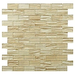 SomerTile 12.25x12.25-inch Arbor Subway Cream Glass Mosaic Wall Tile (Case of 10)