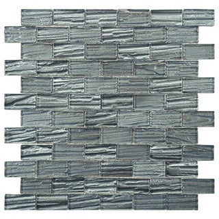 SomerTile 'Arbor Subway Blue' 12.25x12.25-inch Glass Mosaic Tiles (Pack of 10)