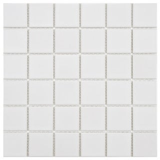 SomerTile 11.875x11.875-in Polar Square 2-in White Porcelain Mosaic Tile (Pack of 10)