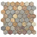 SomerTile 'Ridge Hexagon Sunset' 12x11.5-inch Stone Mosaic Tiles (Pack of 5)