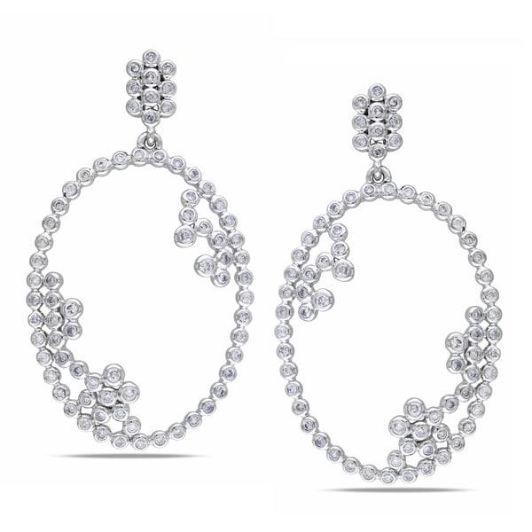 Collette Z Sterling Silver Cubic Zirconia Big Oval Earrings