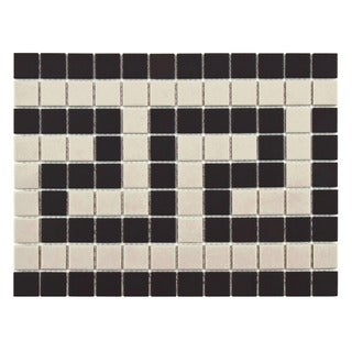 SomerTile 9.75x13-inch Manhattan Square Greek Key Border Unglazed Porcelain Mosaic Floor and Wall Trim Tile (Case of 10)