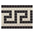 SomerTile 'Manhattan Square Greek Key Border' 9.75x13-inch Unglazed Porcelain Mosaic Tiles (Pack of 10)
