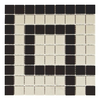 SomerTile 9.75x9.75-inch Manhattan Square Greek Key Corner Unglazed Porcelain Mosaic Floor and Wall Tile (Case of 4)