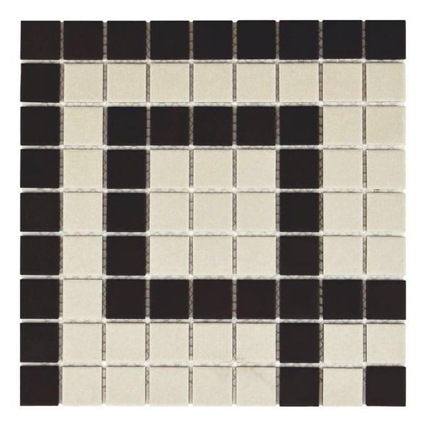 SomerTile 'Manhattan Square Greek Key Corner' 9.75x9.75-inch Unglazed Porcelain Mosaic Tiles (Pack of 4)