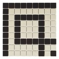 SomerTile 'Manhattan Square Greek Key Corner' 9.75x9.75-inch Unglazed Porcelain Mosaic Tiles (Pack of 4)