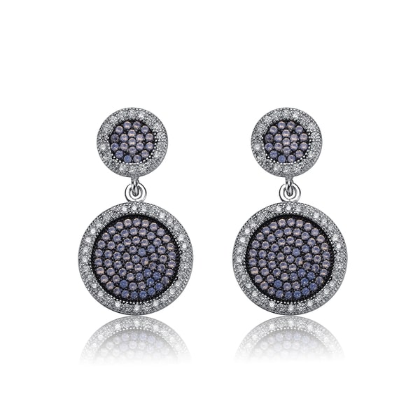 Collette Z Sterling Silver Iridescent Cubic Zirconia Round Drop Earrings