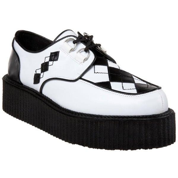 Demonia Men's 'V-creeper-510' Black/ White Argyle Creeper Shoes