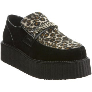 Demonia Men's 'V-Creeper-509S' Black Leopard Panel Creeper Shoes