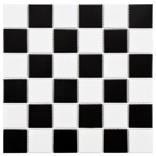 SomerTile 11.875x11.875-in Polar Square 2-in Checker Porcelain Mosaic Tile (Pack of 10)