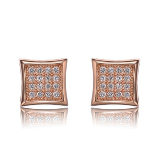Collette Z Sterling Silver Cubic Zirconia Brushed Rose-gold Square Stud Earrings