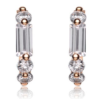 Collette Z Sterling Silver Cubic Zirconia Rose-gold Huggie Earrings