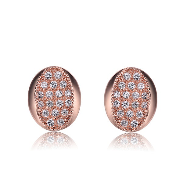 Collette Z Sterling Silver Cubic Zirconia Brushed Rose-gold Oval Stud Earrings