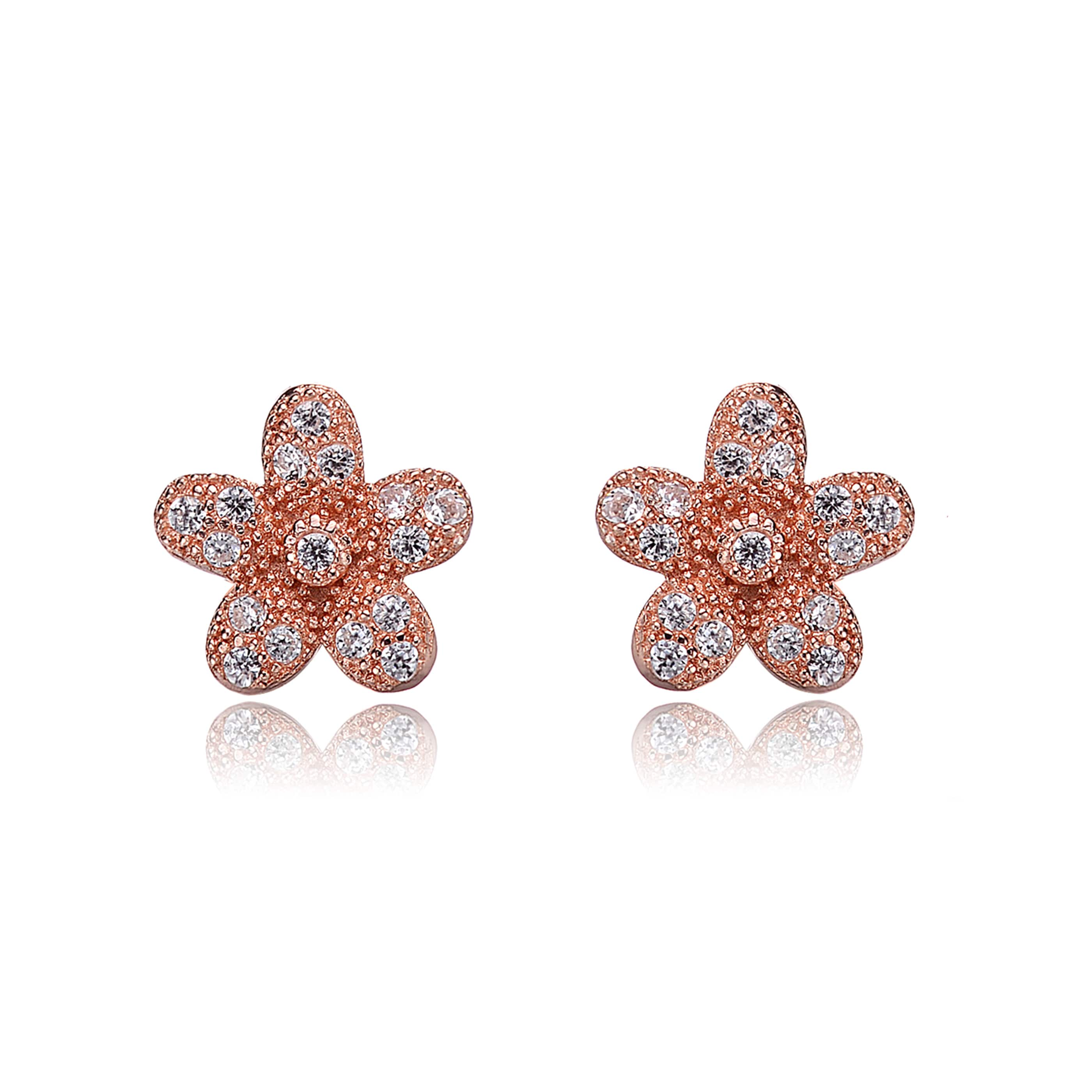 Collette Z Sterling Silver Cubic Zirconia Brushed Rose-gold Flower Stud Earrings at Sears.com