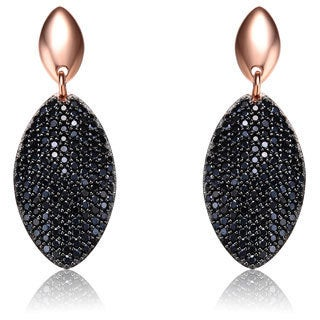 Collette Z Rose and Black Plated Sterling Silver Cubic Zirconia Oval Earrings