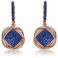Collette Z Rose and Black Plated Sterling Silver Blue Cubic Zirconia Dangling Earrings