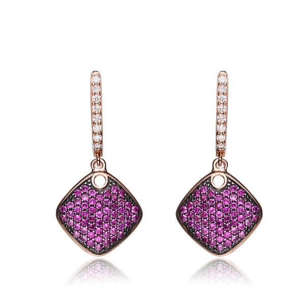 Collette Z Rose- and Black-plated Sterling Silver Red Cubic Zirconia Diamond-shape Earrings