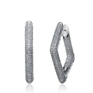 Collette Z Sterling Silver Cubic Zirconia Diamond-shape Hoop Earrings