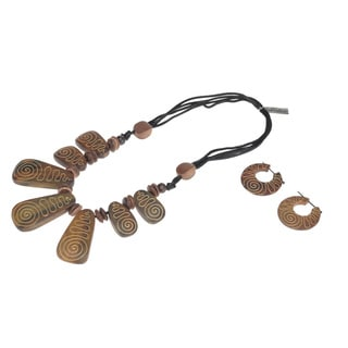 Eco-Friendly Wood Spiral Detail Necklace and Earring Set (India)